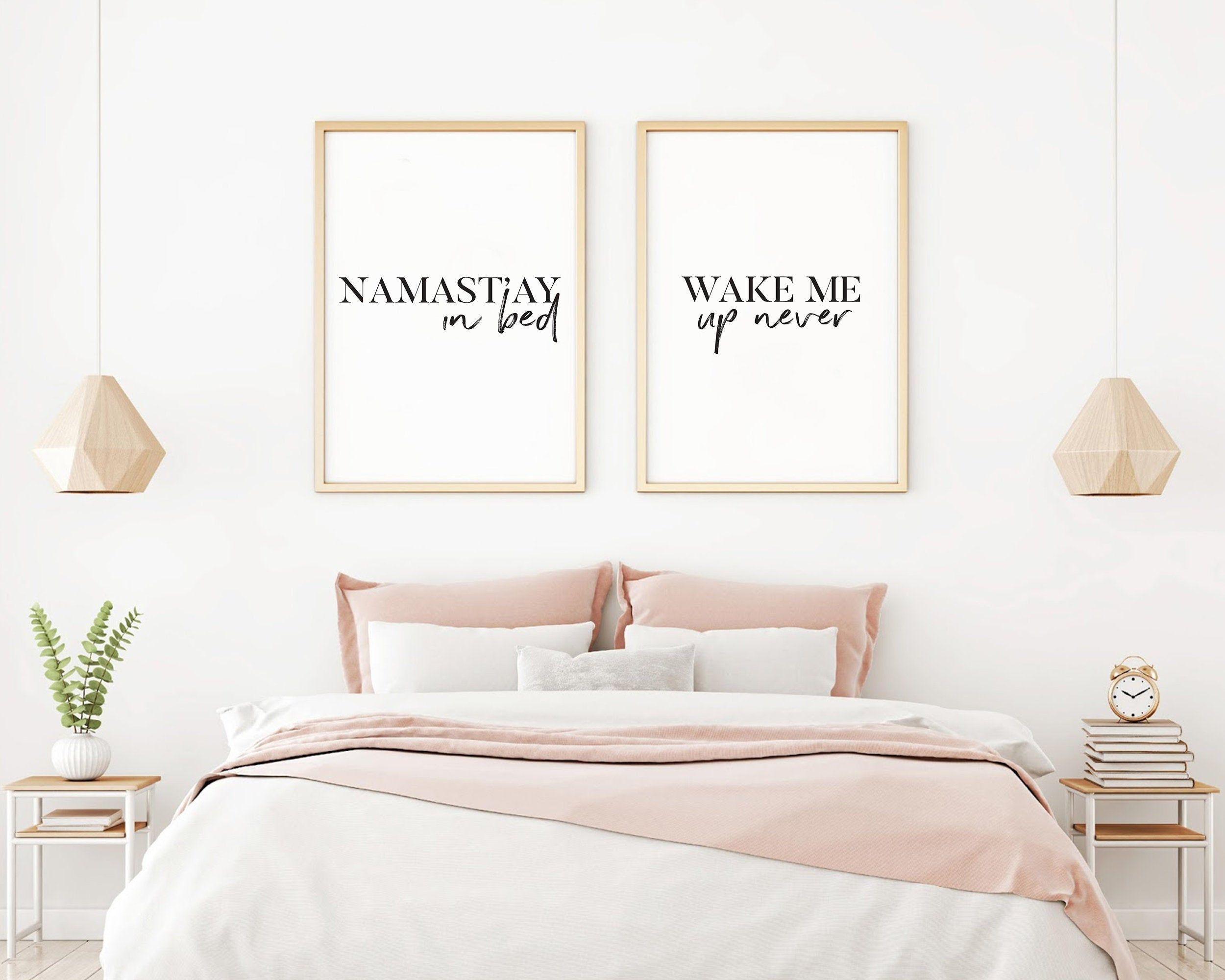 Namastay In Bed Print Wake Me Up Never Wall Art Fun Wall Etsy Printable Bedroom Decor Bedroom Wall Above Bed Decor