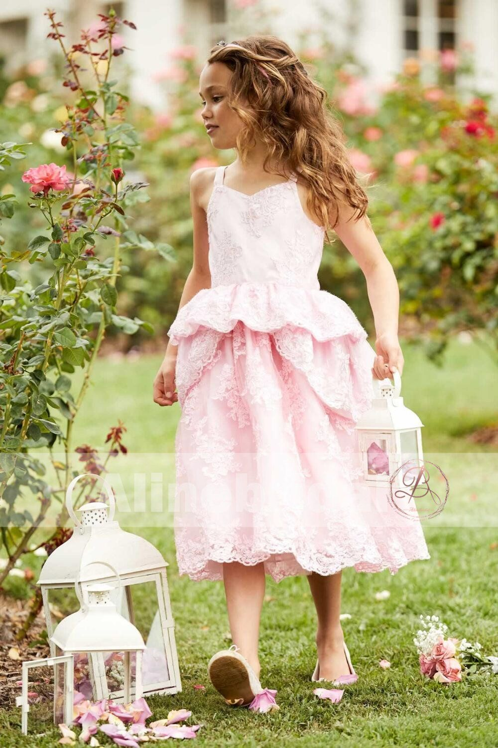 Sweet pink lace unique ball gown spaghetti straps flower girl