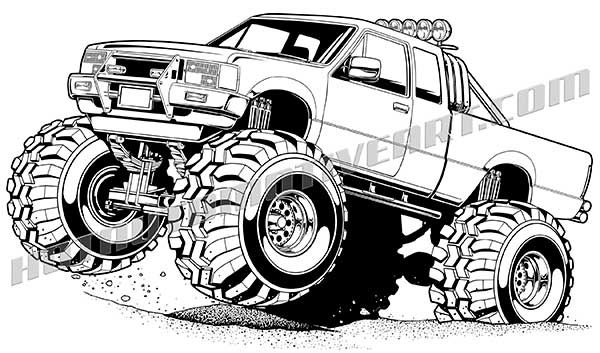 Lifted Off Road 4x4 Monster Truck Art Cartoon Car Drawing Jeep Art