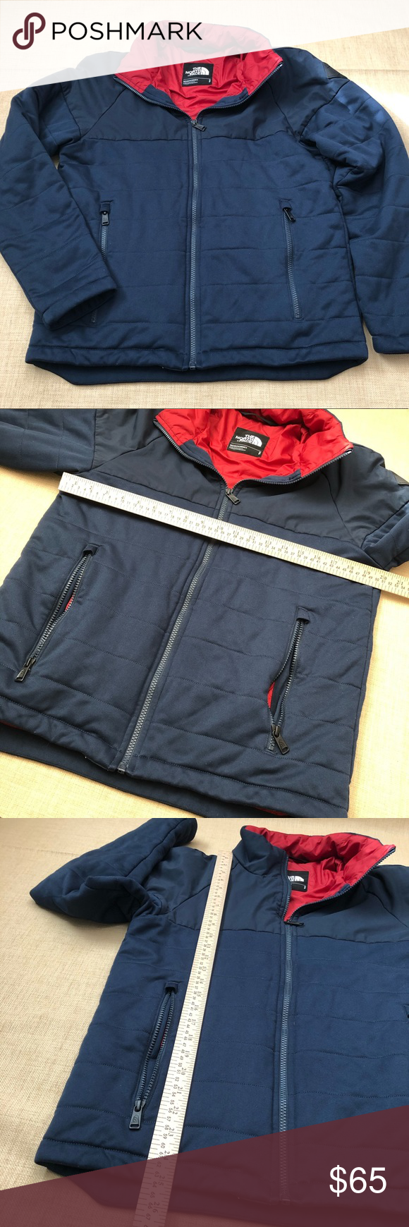 North Face Navy Red Skokie Insulated Full Zip Navy Blue Coat Blue Coats North Face Jacket [ 1740 x 580 Pixel ]