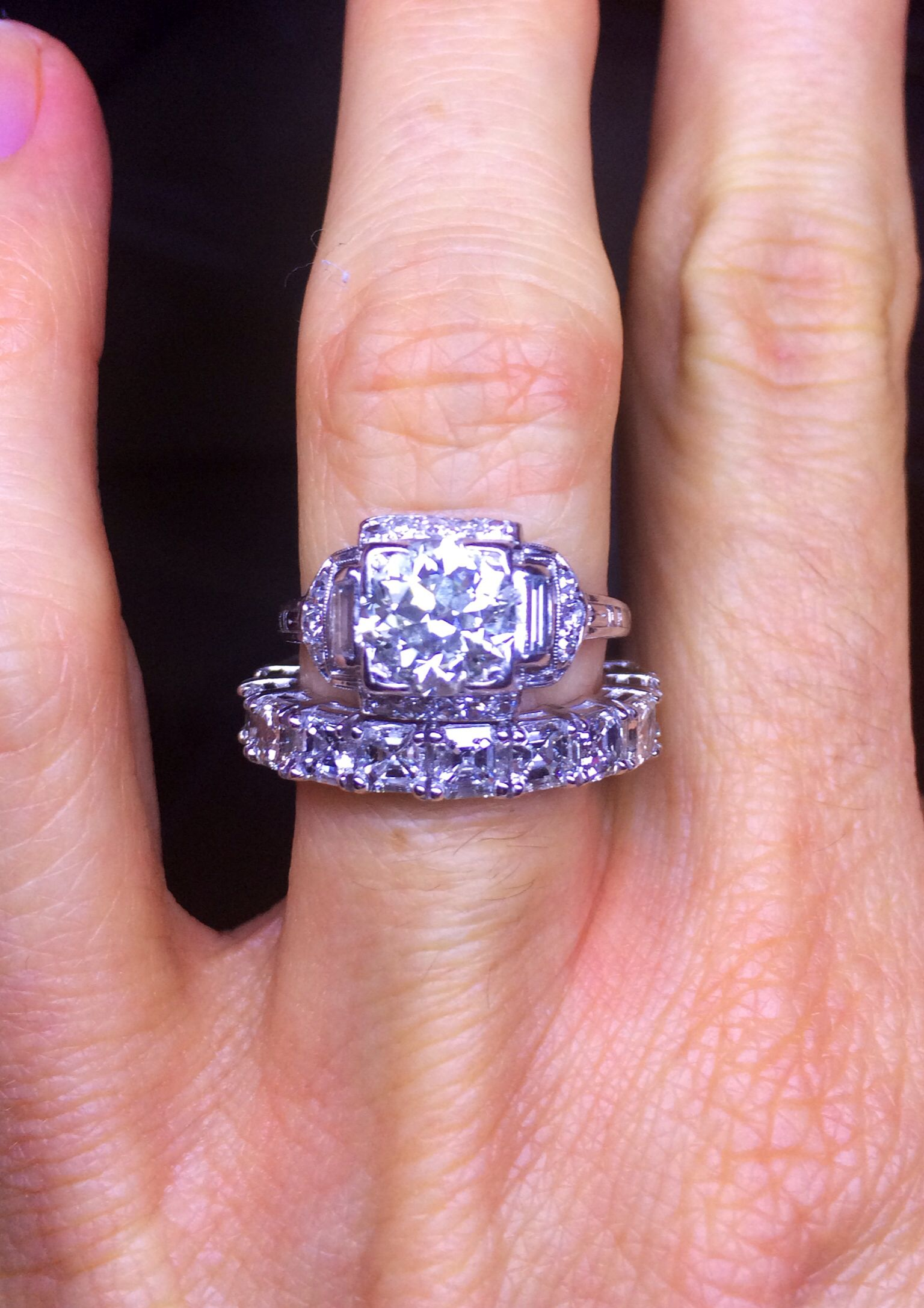 Platinum Edwardian engagement ring with a 4.00 carat Assher cut ...