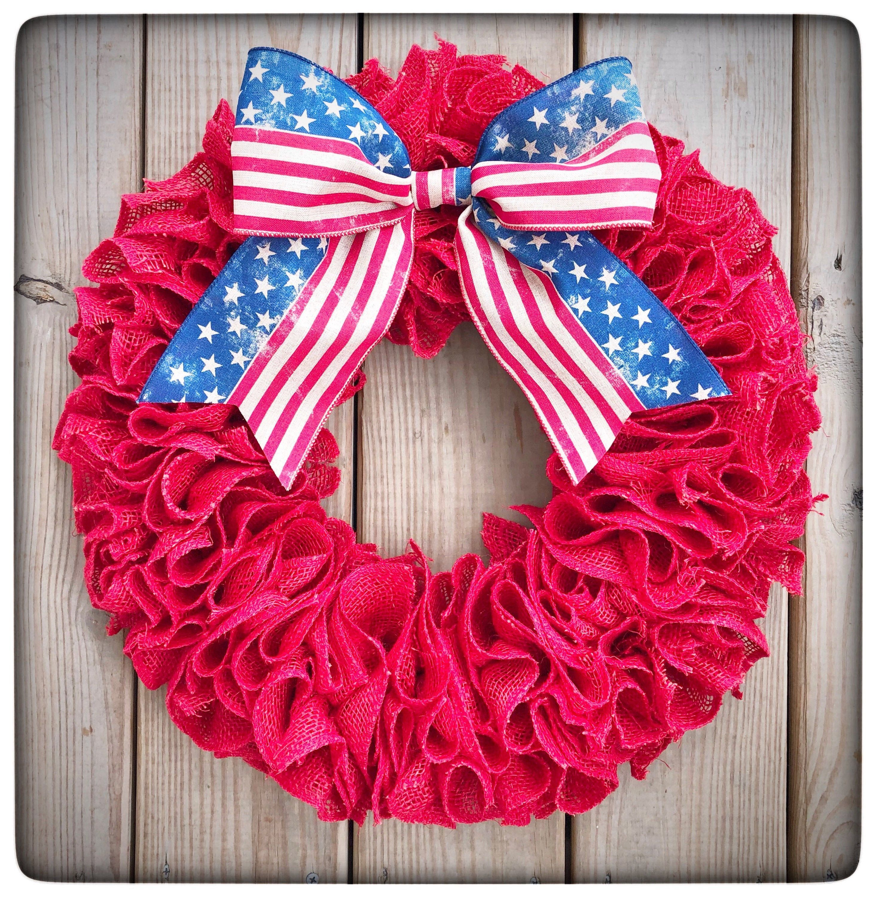 year round everyday 4th of July 18 burlap wreath patriotic red white and blue front door