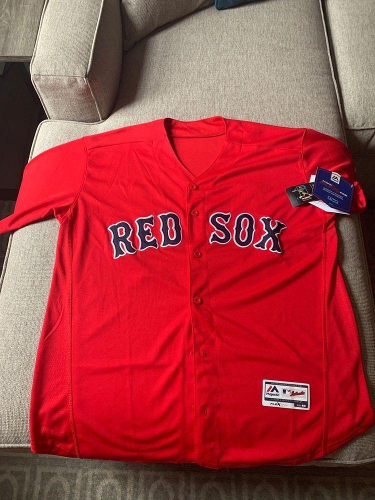 best loved f4642 6f03e Men's Majestic Boston Red Sox MLB Alternate Red Jersey David ...