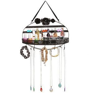 Black Flower Metal Hanging Jewelry Organizer Rack w Earring Holder