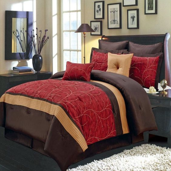 8pc modern embroidered red and brown comforter set accent colors
