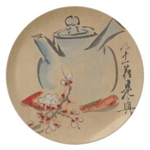 Japanese Teapot & Cherry Blossoms ~ Vintage Art Dinner Plates