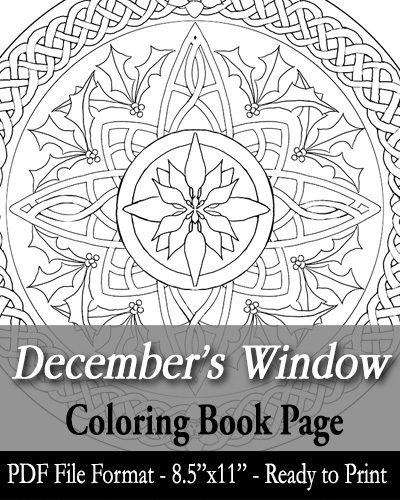 Printable Coloring Book Page - December\'s Window Art Nouveau Stained ...