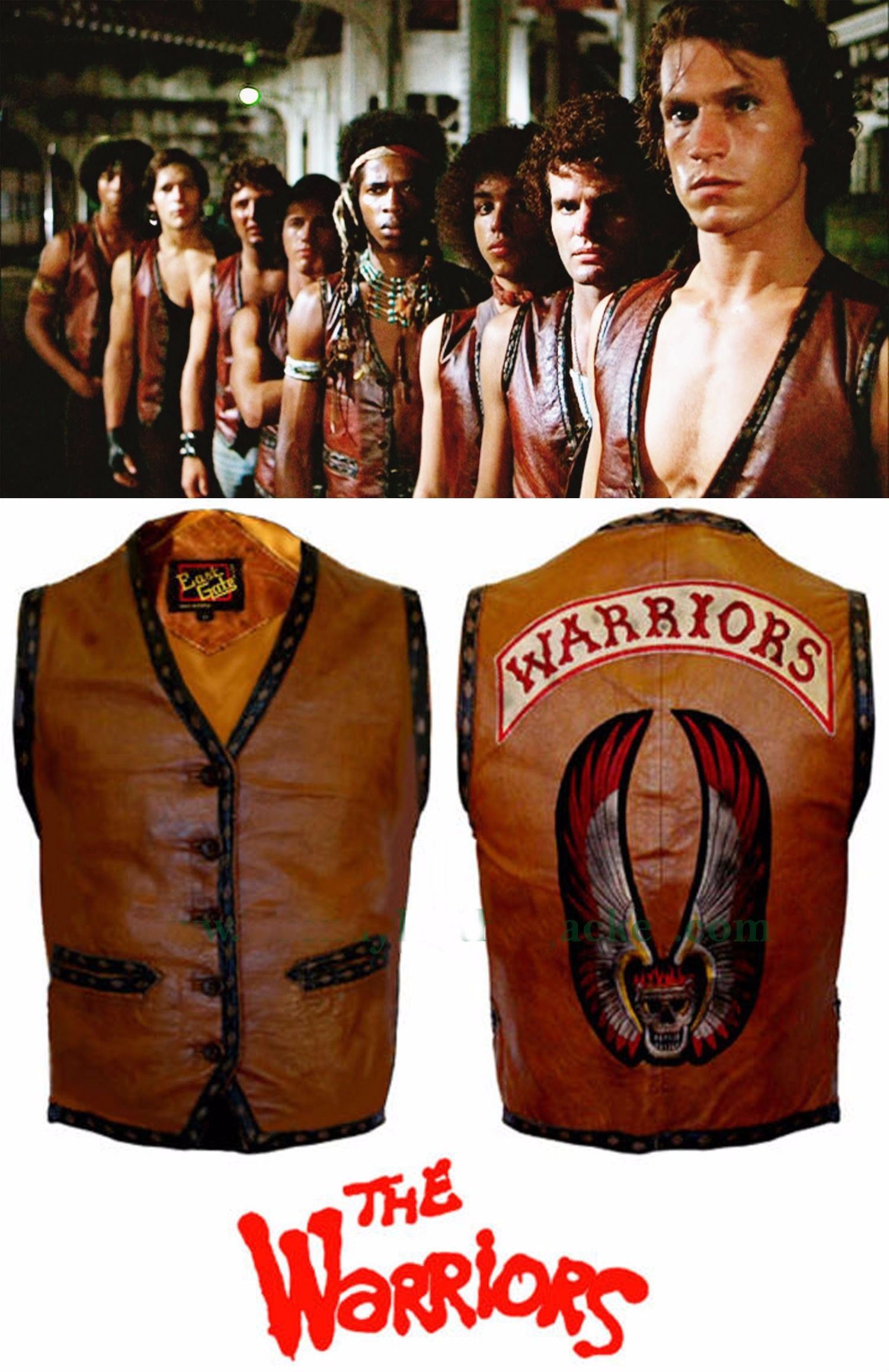 THE WARRIORS MOVIE LEATHER VEST JACKET MOTORCYCLE//BIKE RIDERS COSTUME