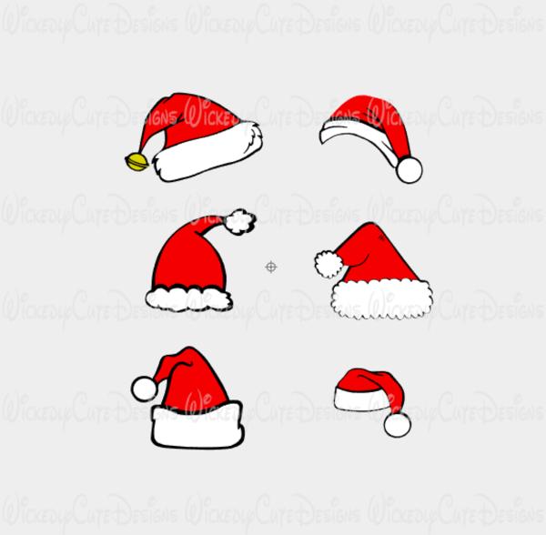 Santa Hat Collection SVG, DXF, EPS, PNG Digital File