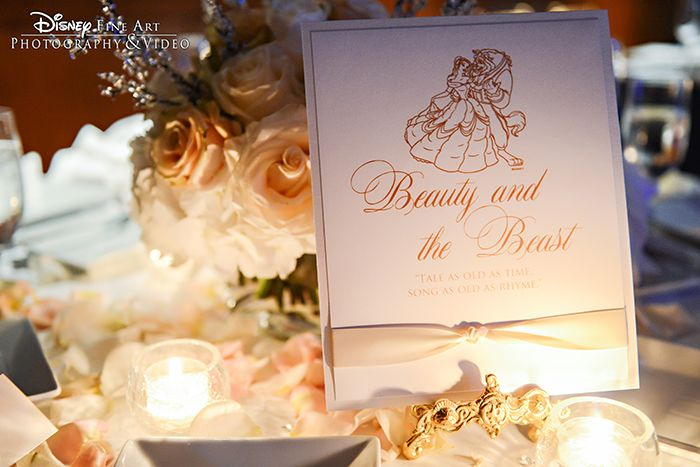 Beauty and the beast inspired wedding reception table card for Beauty and beast table decorations