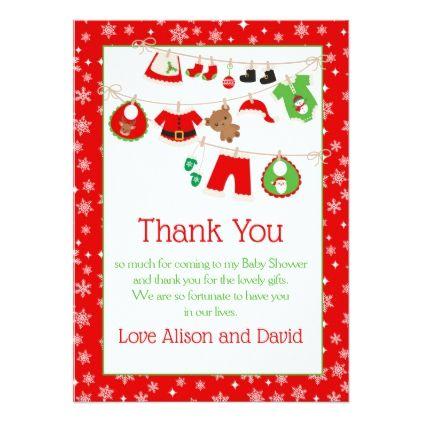 Christmas Santa Baby Clothes Line Thank You Card Santa baby