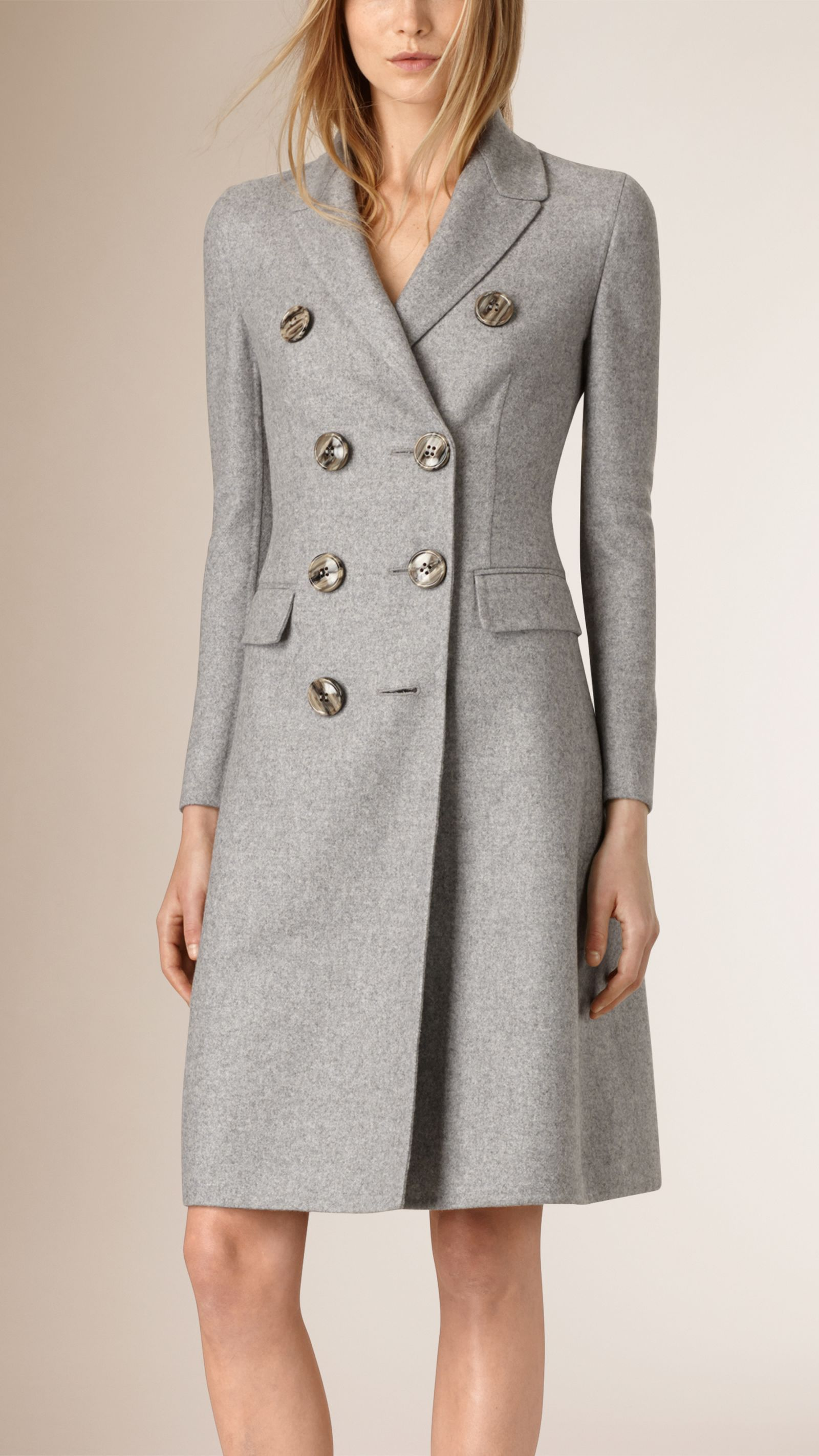 be879e6cc30 Tailored Double-Breasted Cashmere Coat Light Grey Melange
