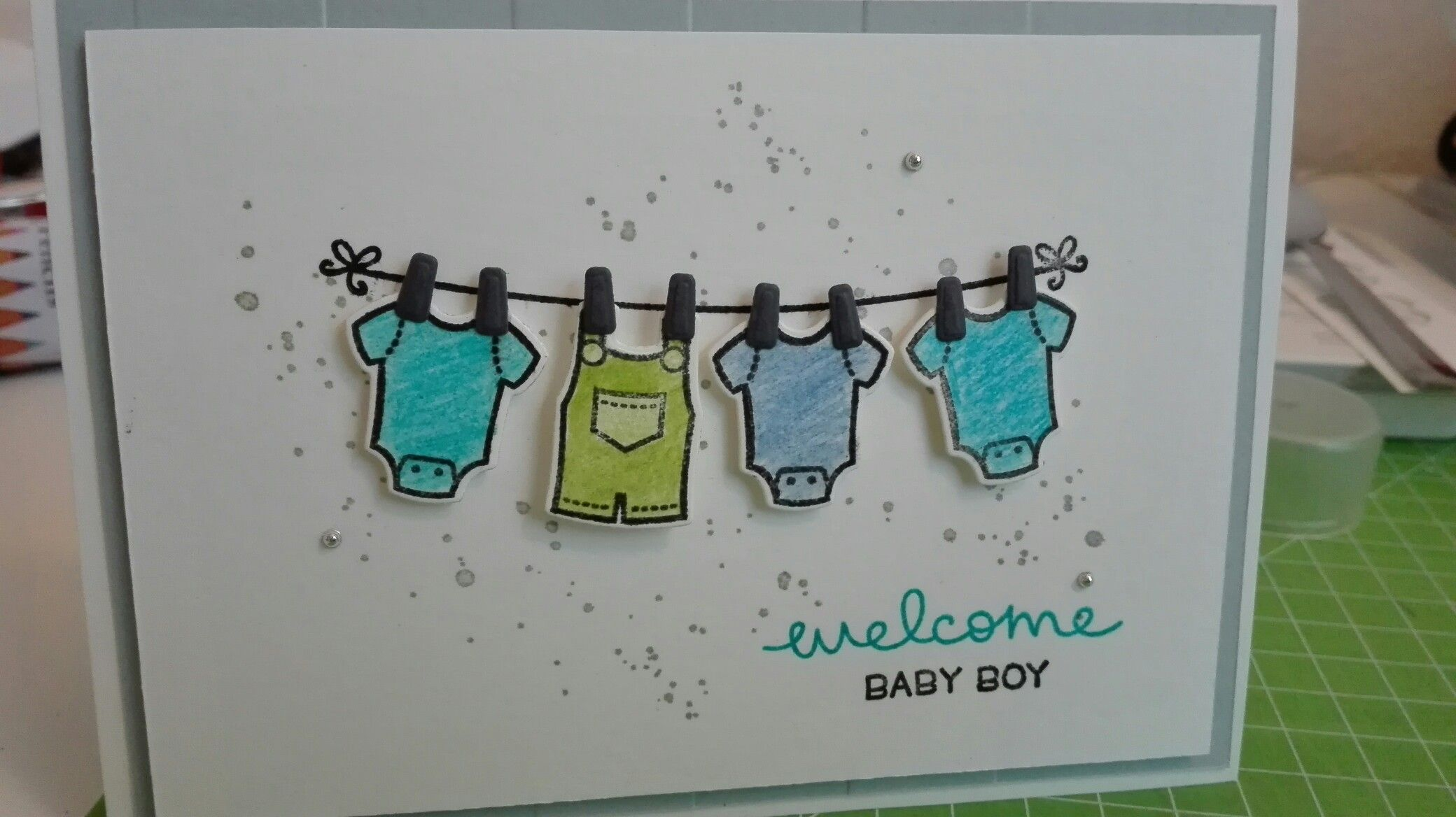 Babykarte Baby Card Using Lawn Fawn Little Bundle Stamps And