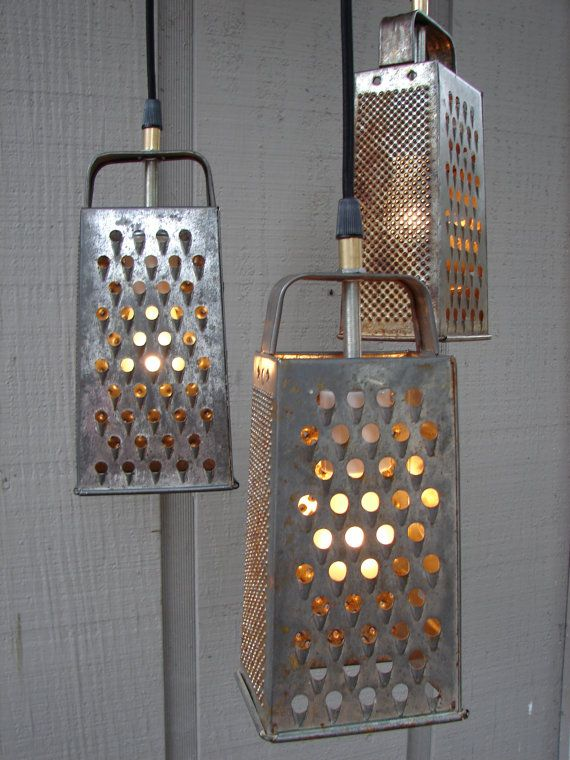Marvelous Upcycled Grater And Colander Kitchen Pendant Light