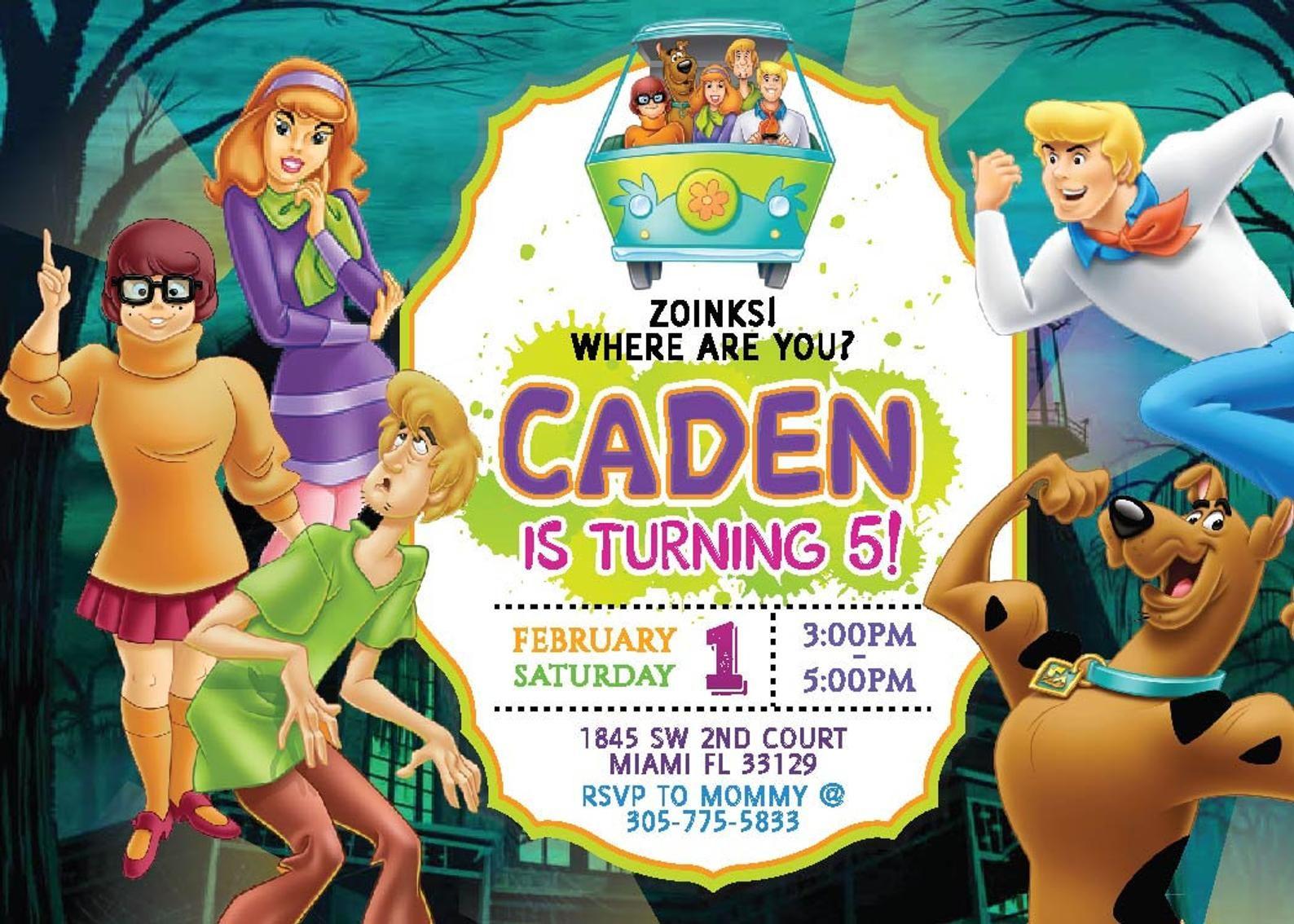 Invitacion De Cumpleanos De Digital Scooby Doo Scooby Doo Etsy Digital Invitations Birthday Invitations Boy Birthday