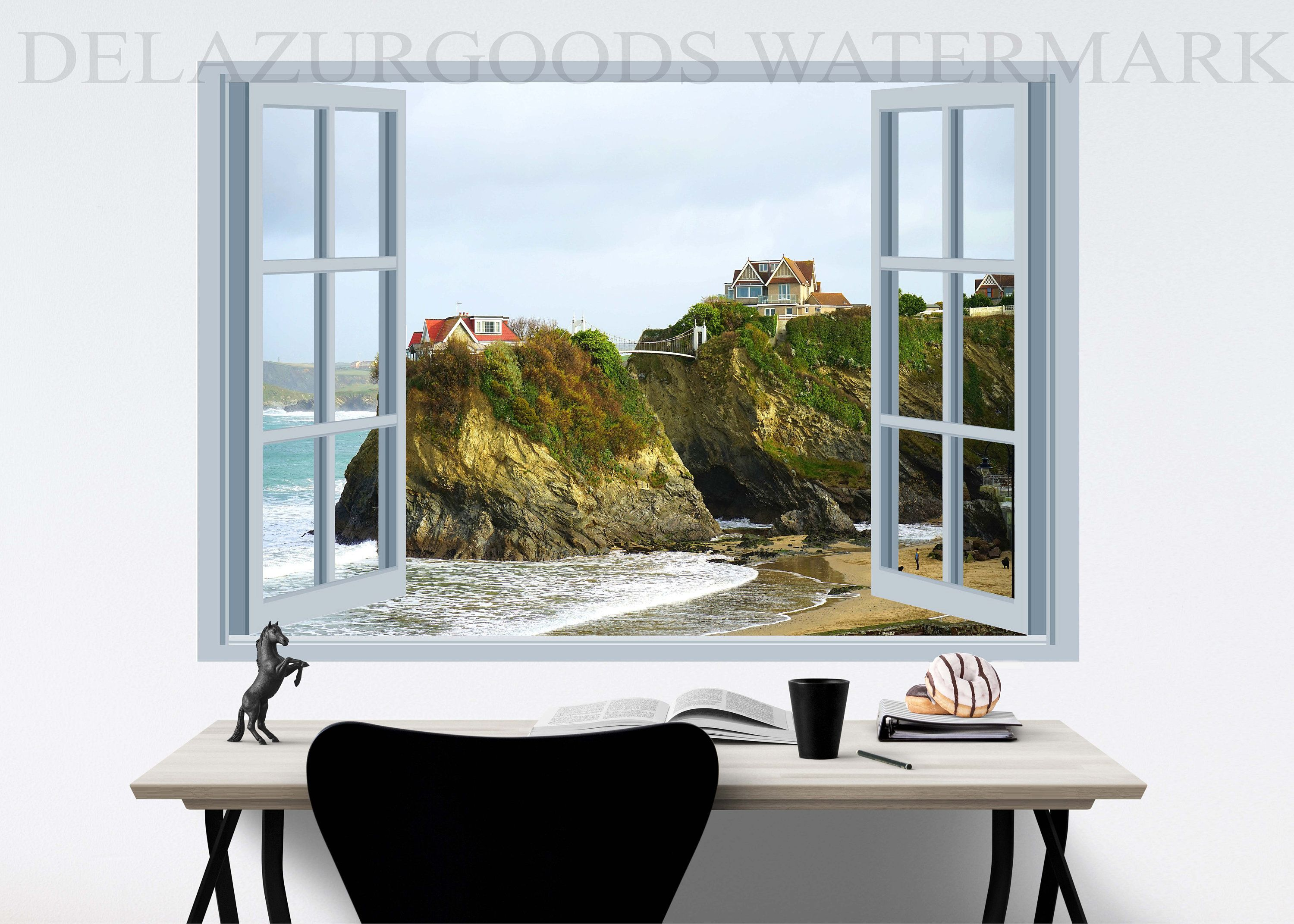 Cliff Window View Wall Decal Removable Wallpaper Peel Stick High Quality Materials Diy By Delazurg View Wallpaper Wall Wallpaper Removable Wall Murals
