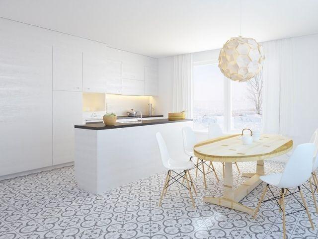 minimalistische-Küche-Weiß-grifflose-Fronten-muster-Bodenfliesen - fliesen in der küche