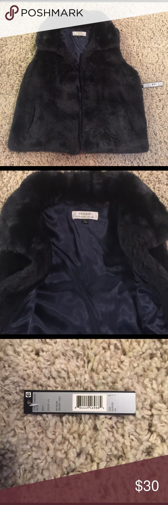 NWT Tahari by Arthur S. Levine Navy Fur Vest - L NWT Tahari by ASL navy blue fur vest. The best is lined on the inside and full faux fur (including collar) on the front and back. The vest has 3 hook and eye closures blended into the fur on the front. Please don't hesitate to ask questions! Tahari Jackets & Coats Vests