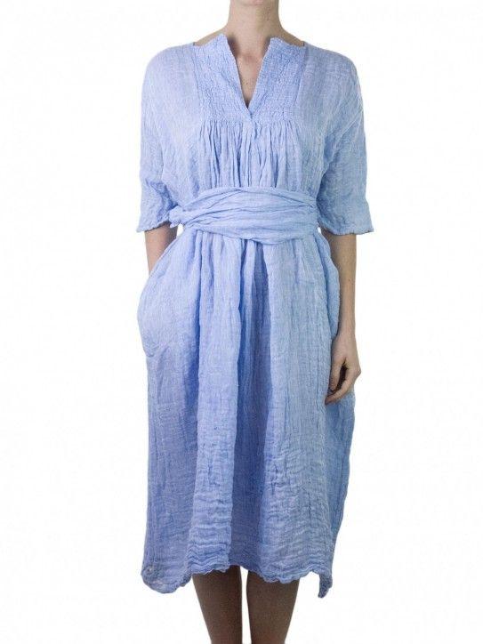 Daniela Gregis indigo blue linen dress