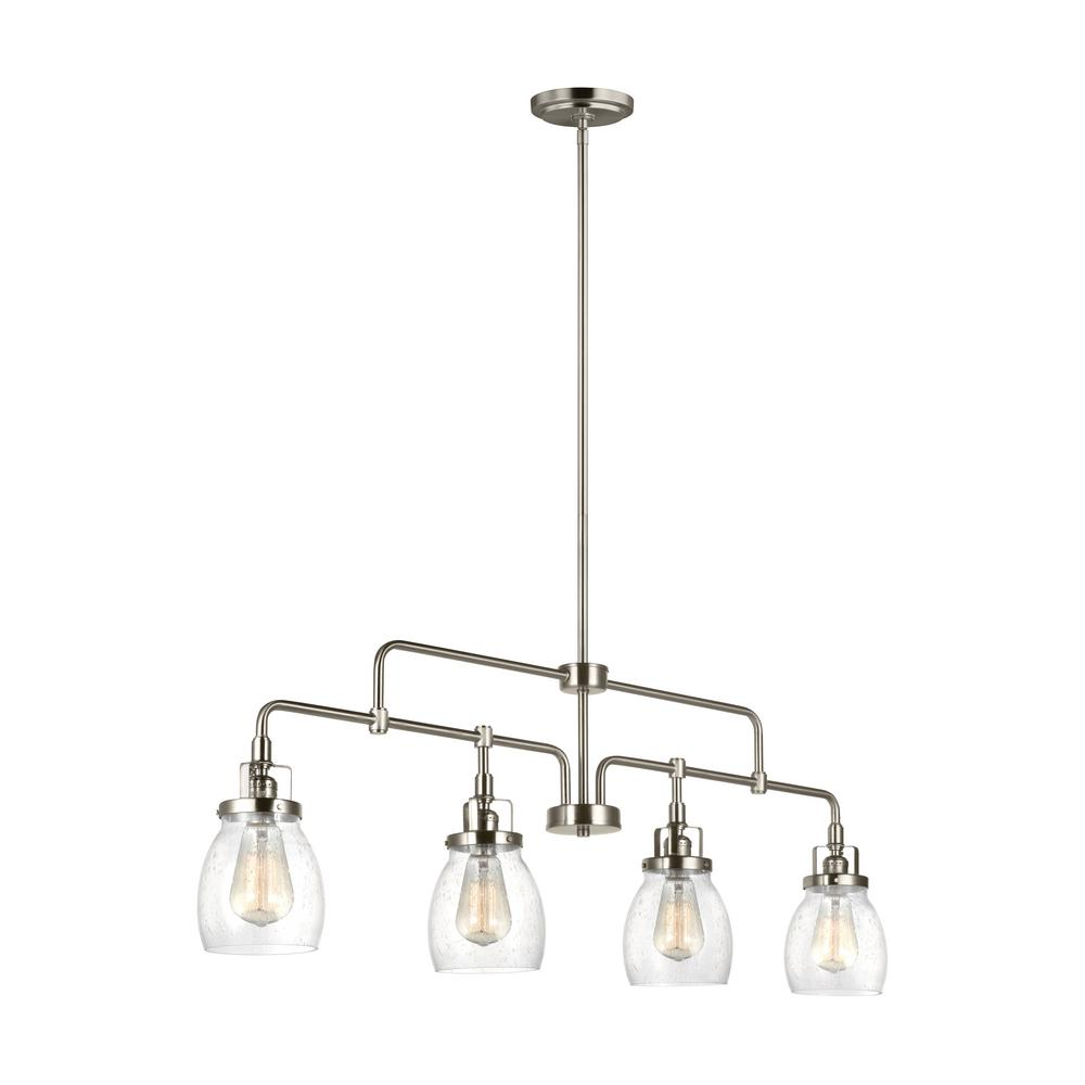 Sea Gull Lighting Belton 40 75 In W 4 Light Brushed Nickel Island Pendant With Clear Seeded Glass 6614504 962 The Home Depot In 2021 Sea Gull Lighting Island Lighting Linear Chandelier Brushed nickel island light