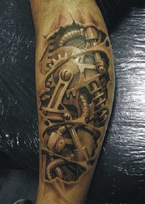 Types of 3D Tattoos for Men: 3D Machine Tattoos Design On Arm For ...