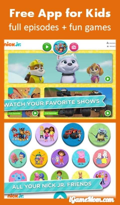 Free App Watch Nick Jr Shows On The Go With Nick Jr Ipad App Kids App Ipad Apps Free Apps Free online preschool games nick jr