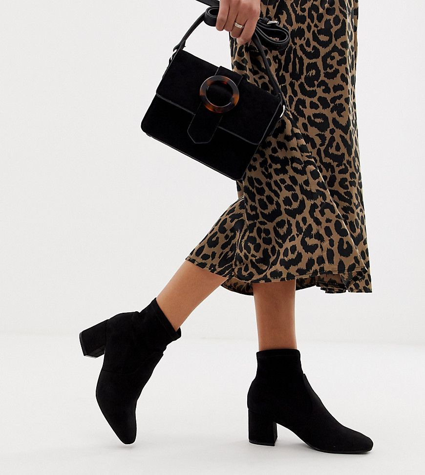 New Look Square Toe Sock Heeled Boot In Black Socks And Heels Sock Ankle Boots Trending Shoes