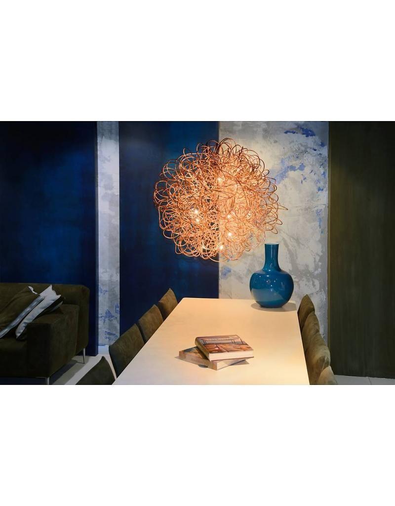 Koperkleurige hanglamp of wit of chroom 50cm diameter