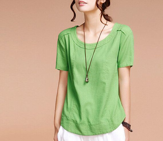 Casual Linen Blouse Short Sleeve Shirtmore by FashionColours