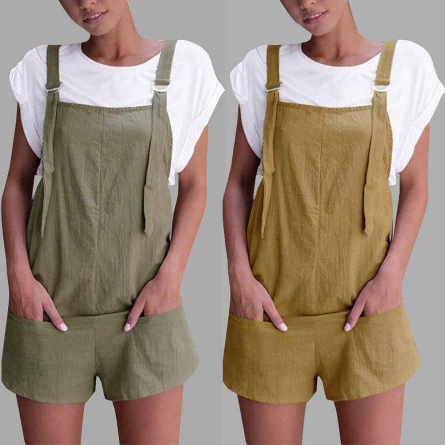 Summer Bib Pants Shorts Playsuit Party Jumpsuit Romper Trousers OverallsXM
