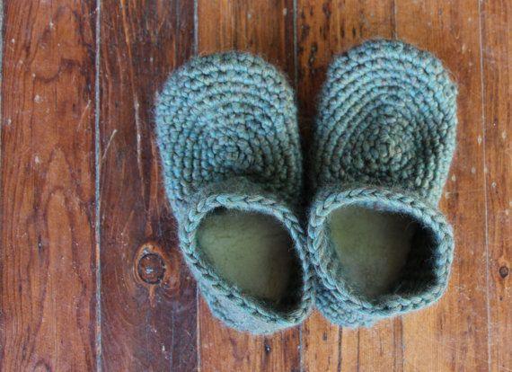 Pattern for Wool Sheepskin Crochet Slippers - For Adults - Size 5.5 ...