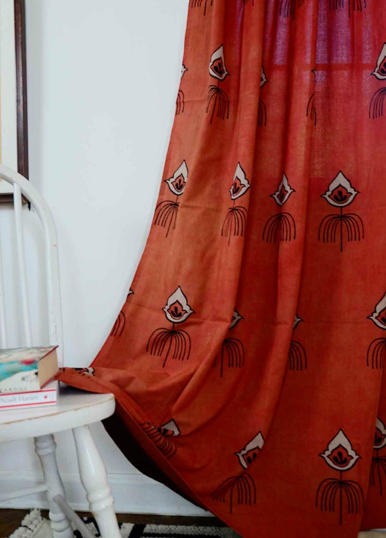 Bohemian Curtains Coral Rust Window Curtains Window Boho Bedroom