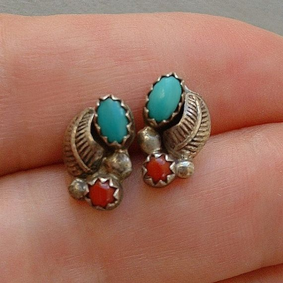 One pair of Sterling Silver and genuine natural turquoise coral carnelian native American handmade earrings