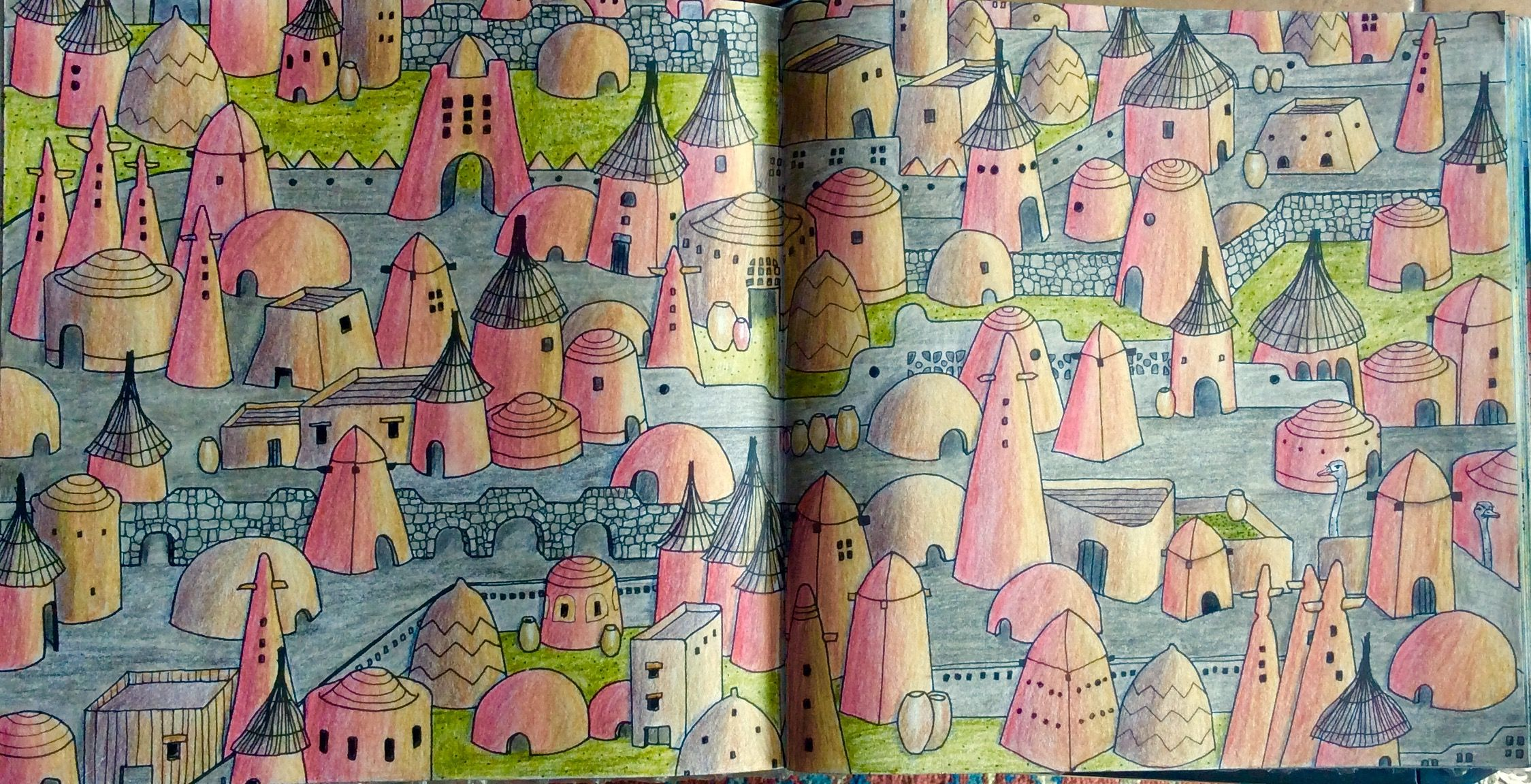 Dream Cities An Adobe Village Coloured By Prue Adult ColoringColouringColoring BooksDream