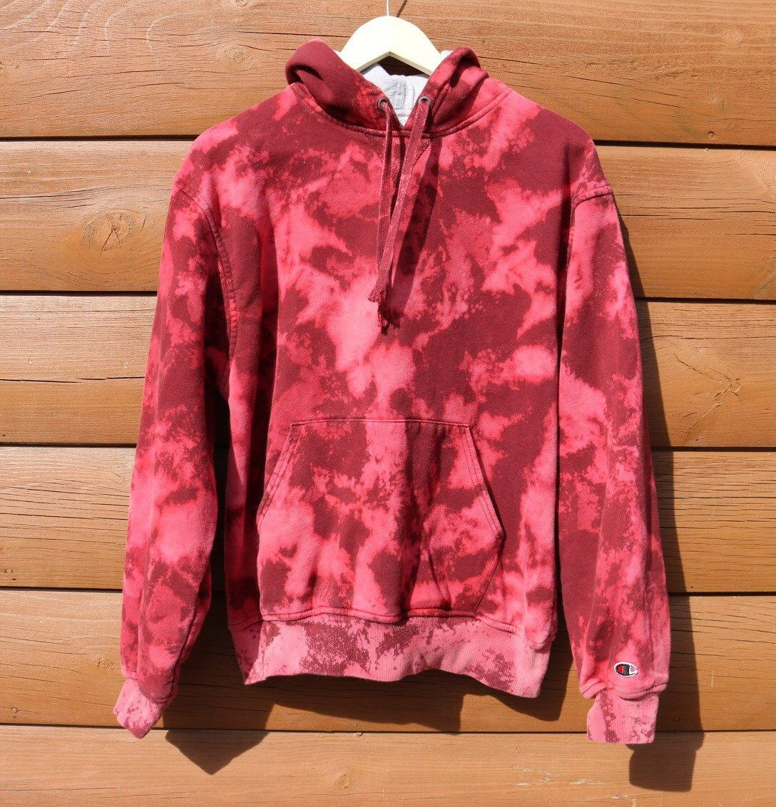 Champion hoodie hand bleached red pink distressed