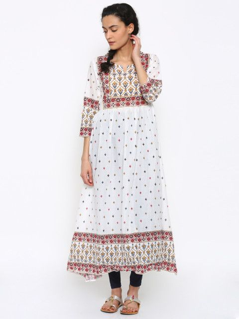 dfd6a126efb4a Buy Melange By Lifestyle Women White Printed Anarkali Kurta - - Apparel for  Women from Melange By Lifestyle at Rs. 1499