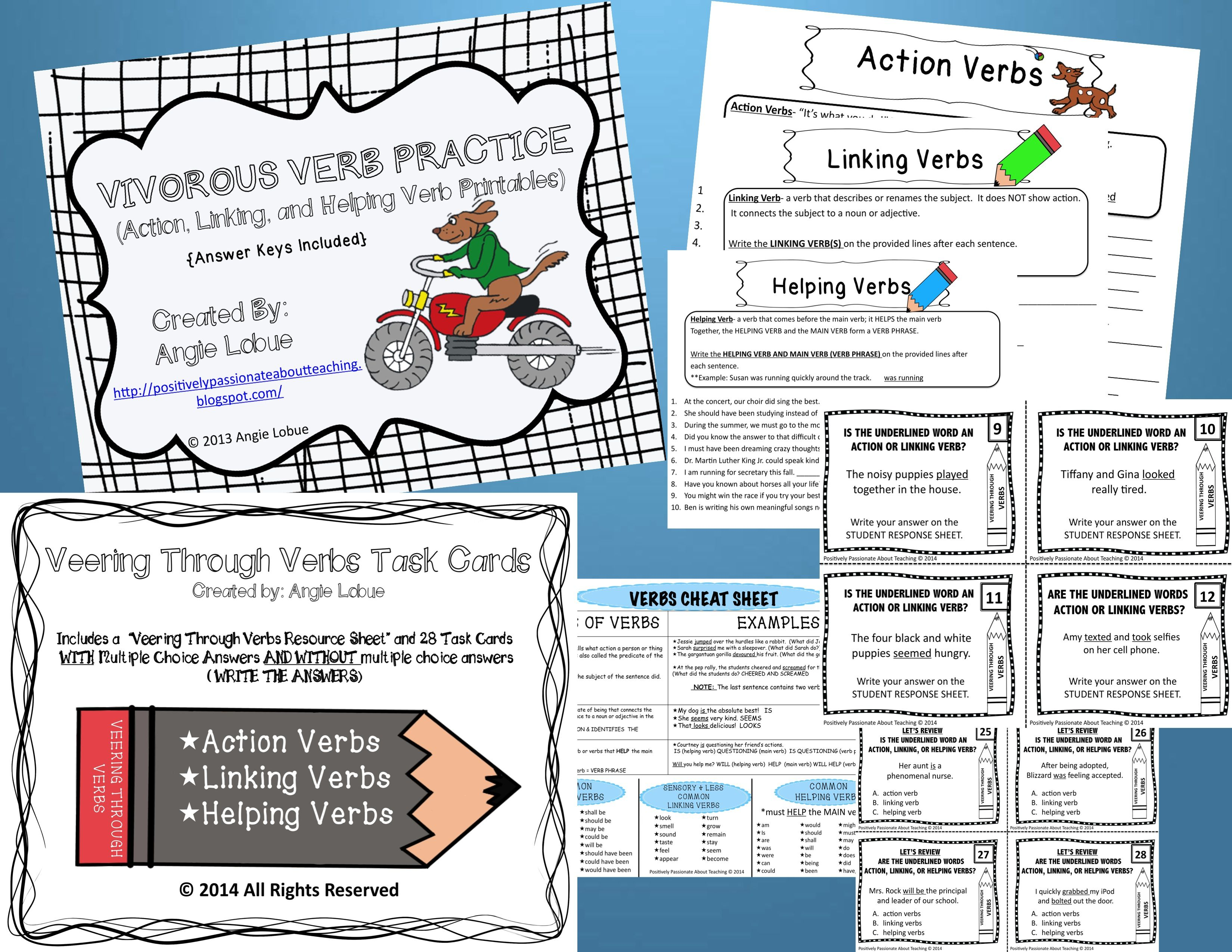 Verb Task Cards And Printables Bundle Action Helping