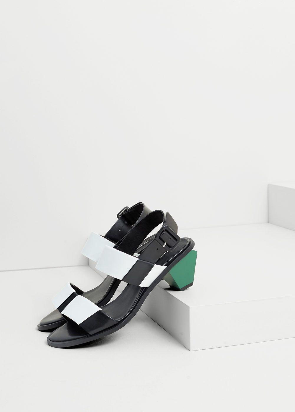 Contrast Heel Sandals Woman In 2019 Sandals Heels