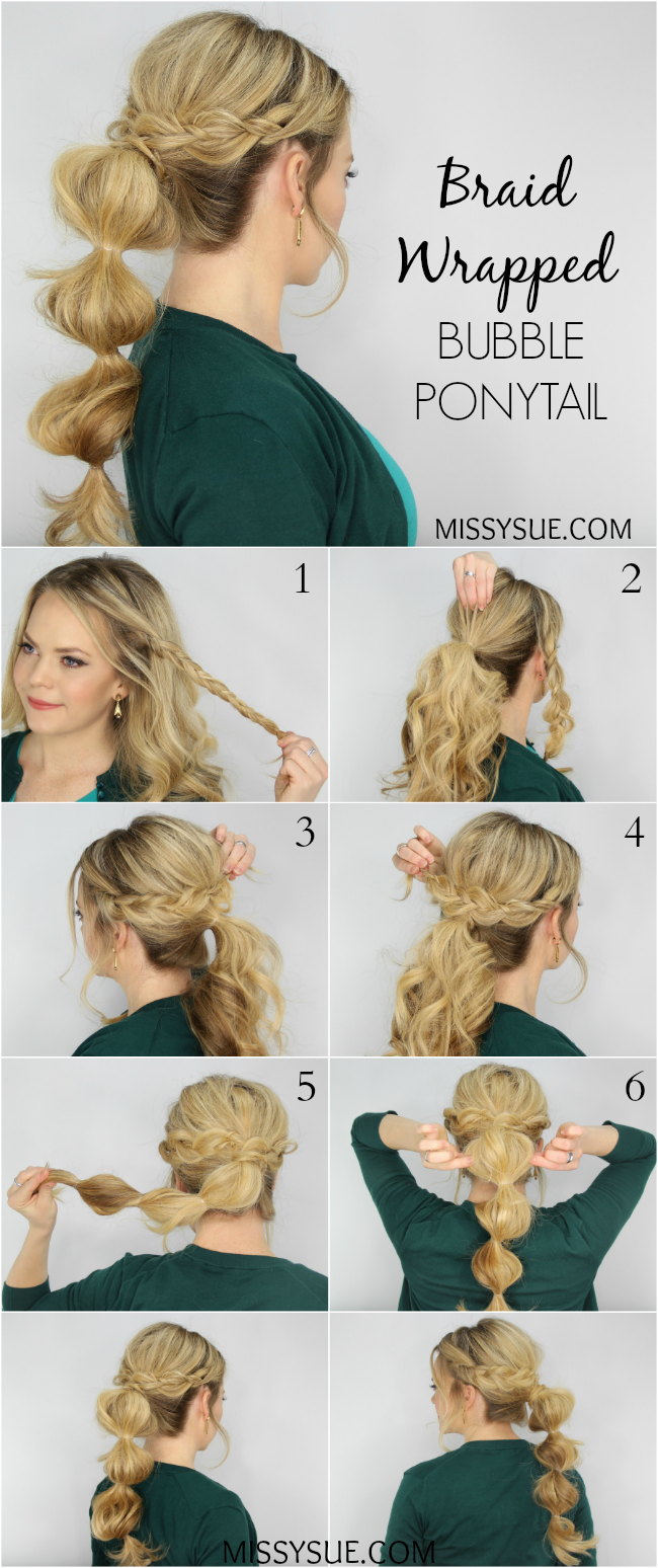 Braid Wrapped Bubble Ponytail  T  Pinterest  Bubble ponytail