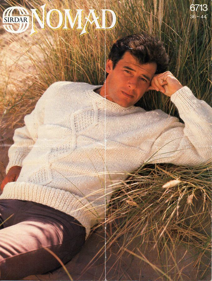 46bf884e88c85e mens chunky sweater knitting pattern pdf bulky cable jumper crew neck  Vintage 36-44 inch chunky bulky 12ply Instant download by Hobohooks on Etsy