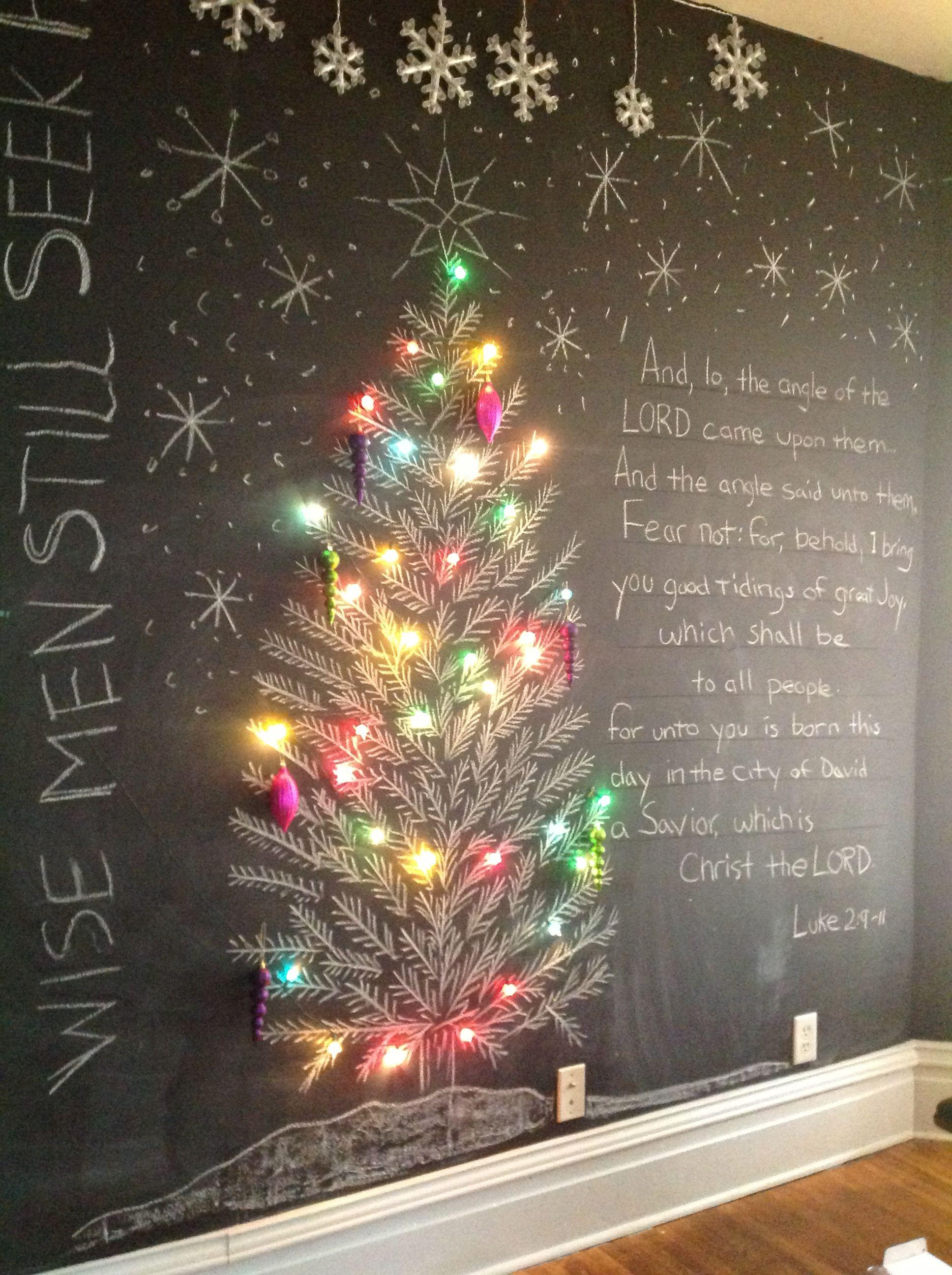 Christmas Tree On Chalkboard Wall Wall Christmas Tree Christmas Chalkboard Art Christmas Tree Drawing