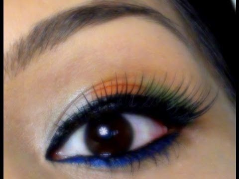 Indian Independence Day Tricolor Eye Makeup Tutorial Green Orange White Blue Eye Makeup Youtube Day Eye Makeup Eye Makeup Tutorial Eye Makeup