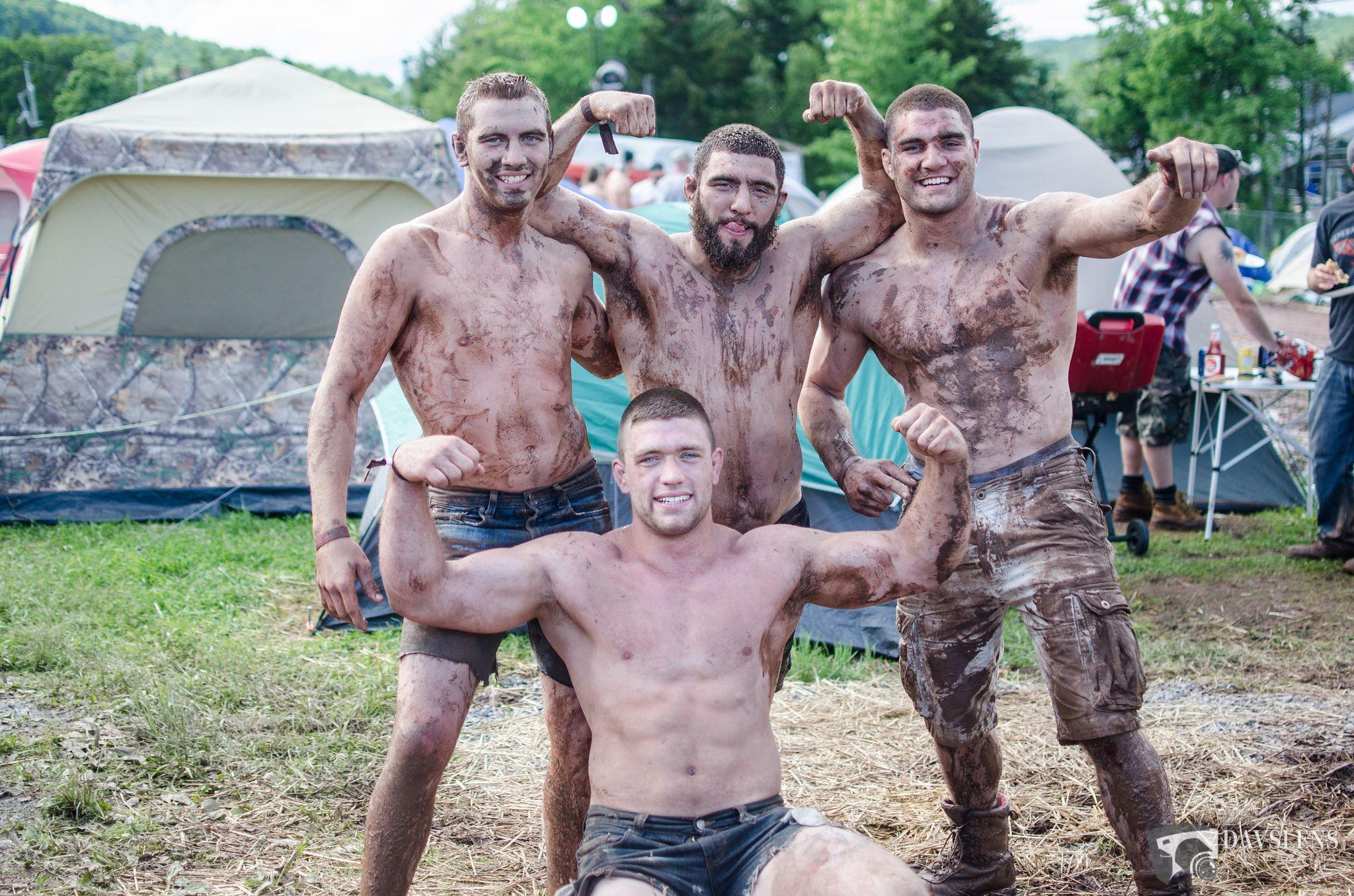 Male mud wrestling