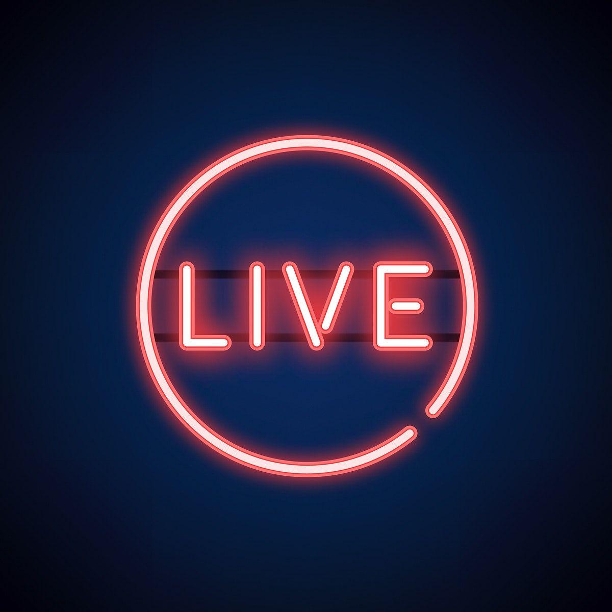 Download premium vector of Red live neon sign vector