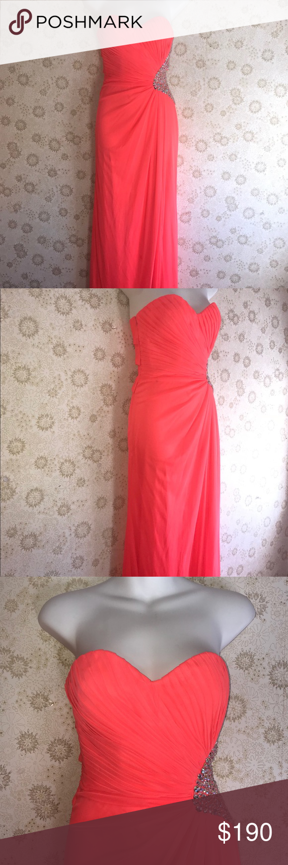 Neon coral prom dress long size prom dress was worn only once