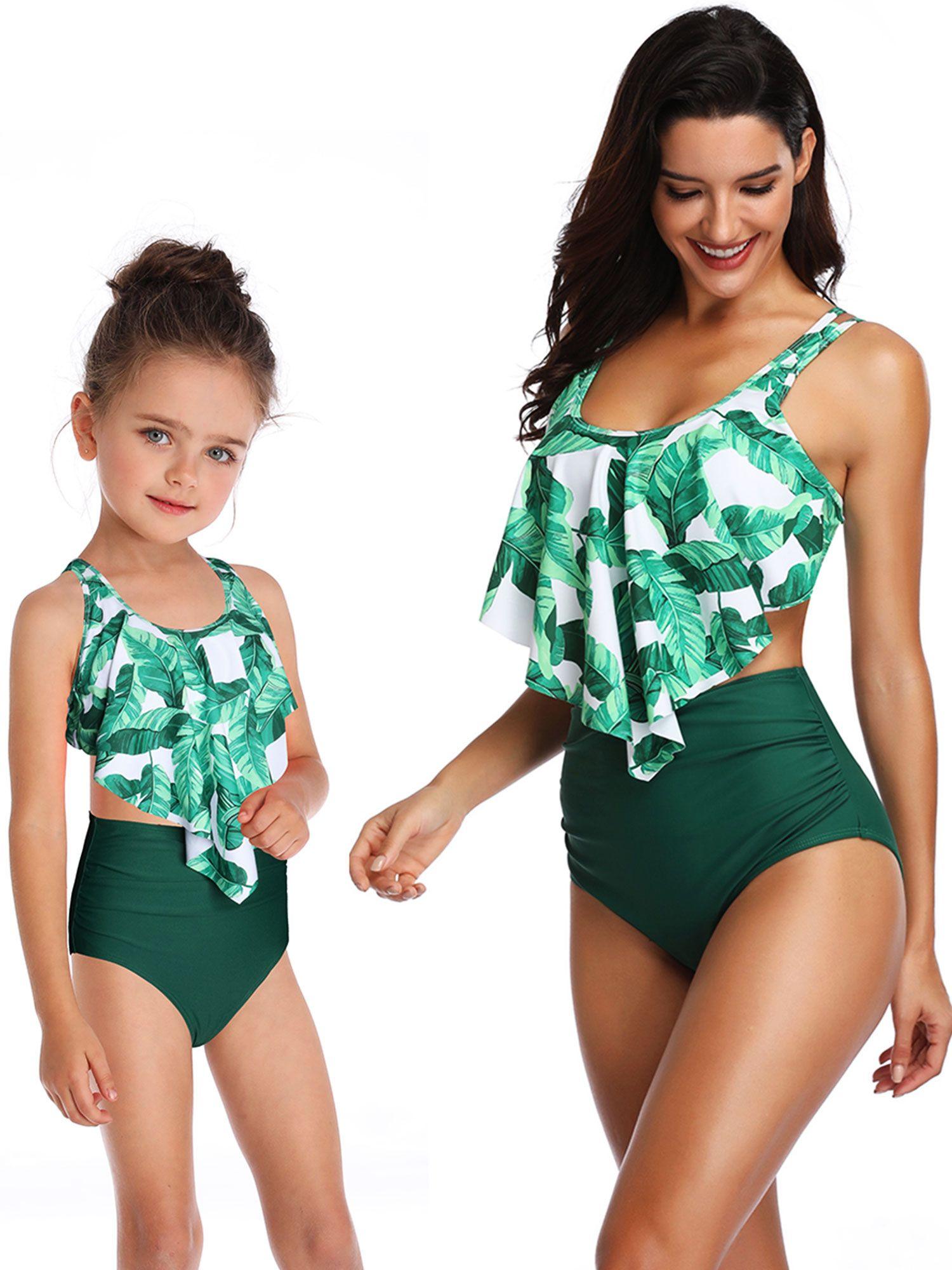 Family Matching Mom Baby Girl One Piece Swimwear Swimsuit Bikini Bathing Suit US