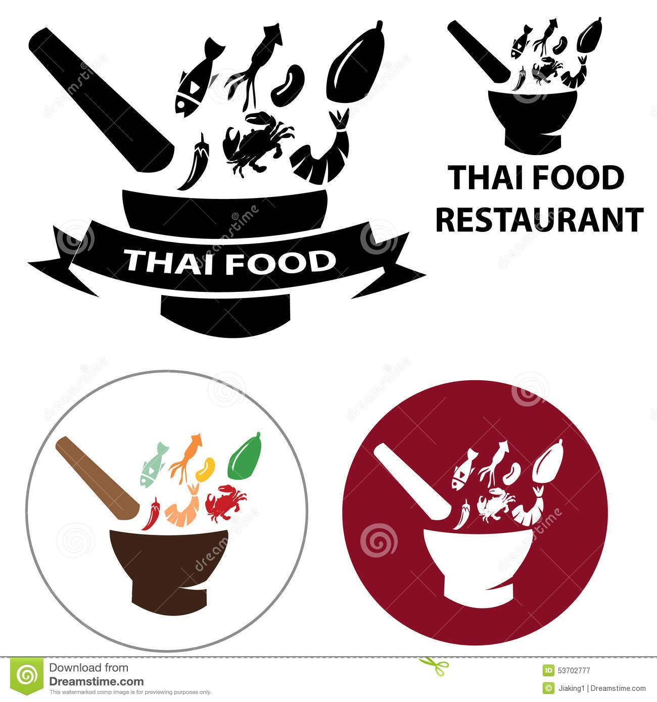 Thai restaurant logo flat vector design google search pinteres buycottarizona Image collections