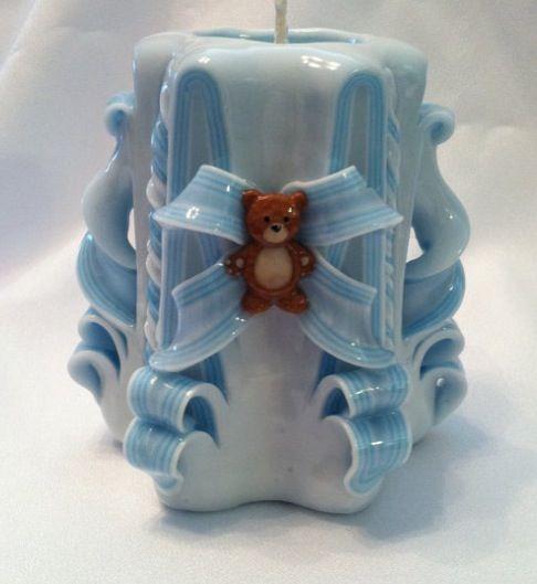 Babyshowercandle#carvedcandle#teddybearcandle