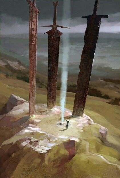 Denkmal für die Erzengel. Jeder hat hier sein Schwert - außer Samael, dessen Schwert wurde entfernt.