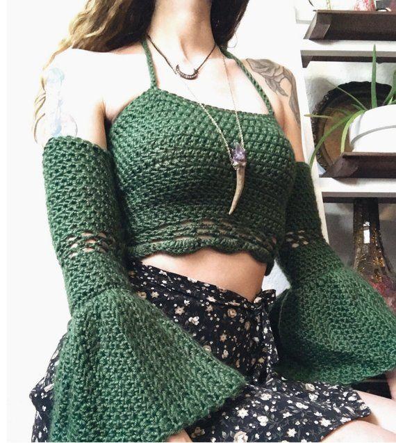 Crochet Bell Sleeve Festival Top #crochetdress